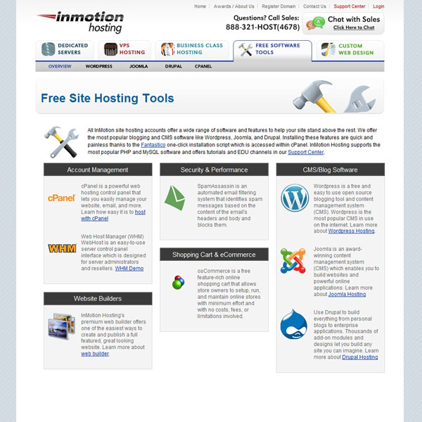 InMotion Hosting Free Site Hosting Tools