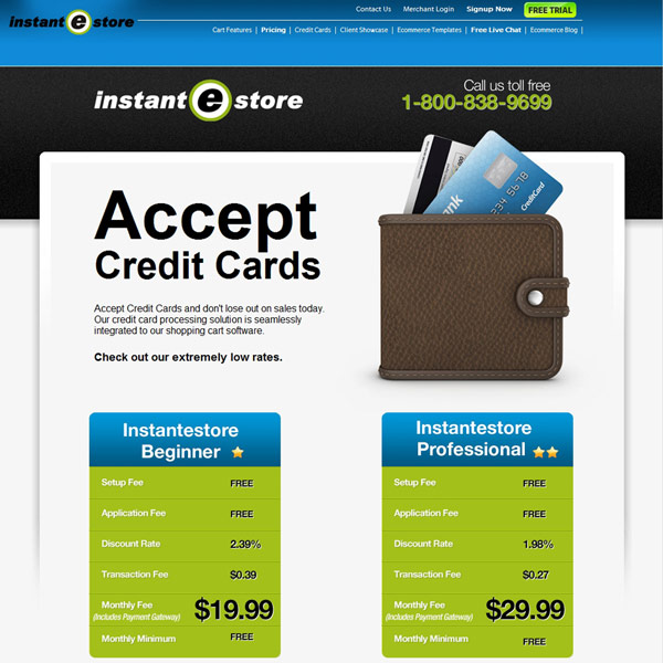 InstanteStore Accept Credit Cards