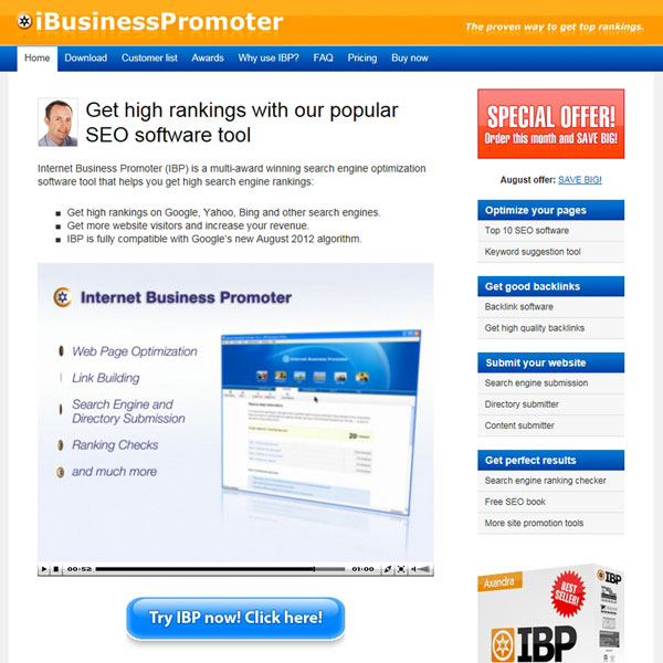Internet Business Promoter (IBP) Homepage