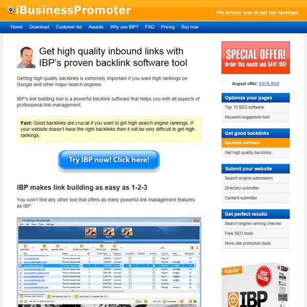 Internet Business Promoter Backlink software