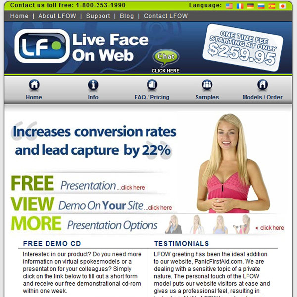 Live Face On Web Homepage