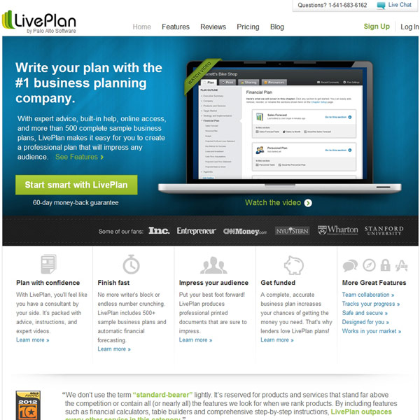 LivePlan Homepage