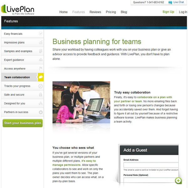 LivePlan Team Collaboration
