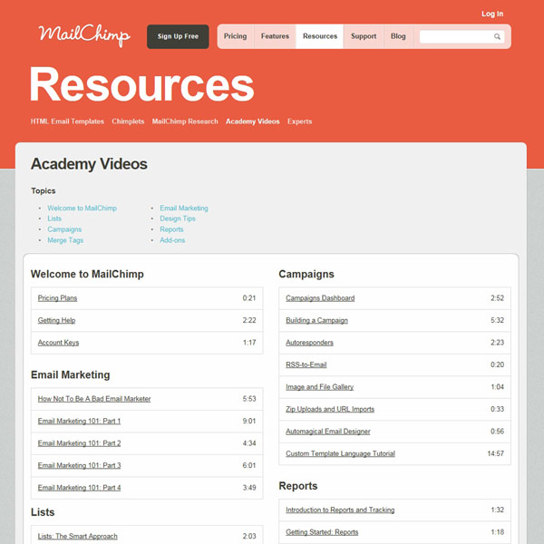 MailChimp Academy Videos