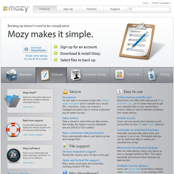 Mozy Features