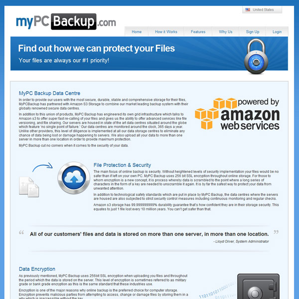 MyPCBackUp Security