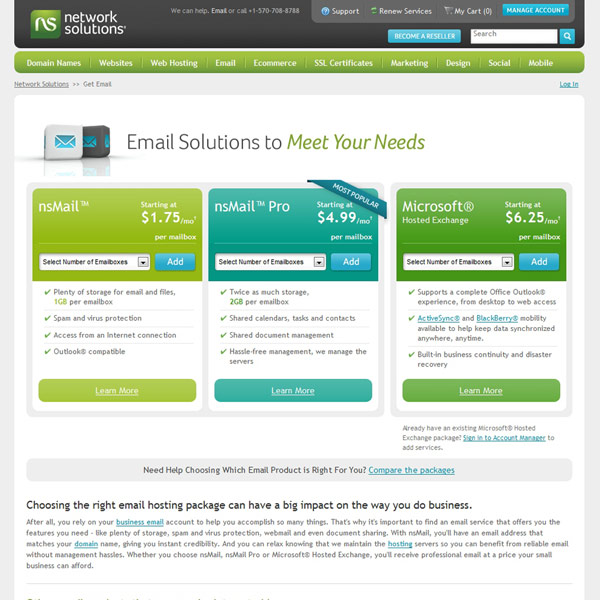 Network Solutions Email Hosting
