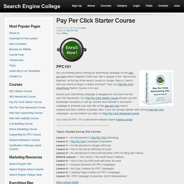 Pay Per Click Starter Course Homepage