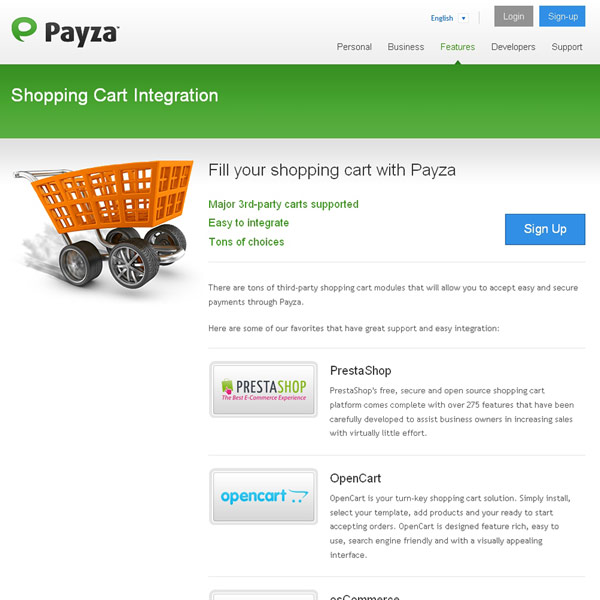 Payza Shopping Cart Integration
