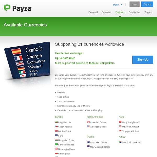 Payza Available Currencies