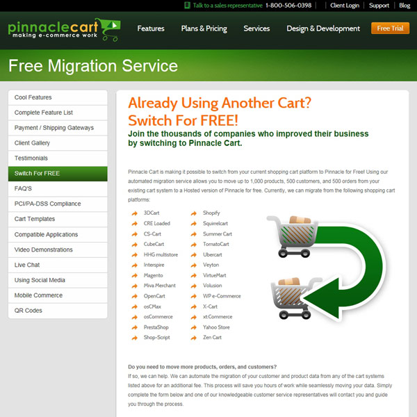 Pinnacle Cart Free Migration Service