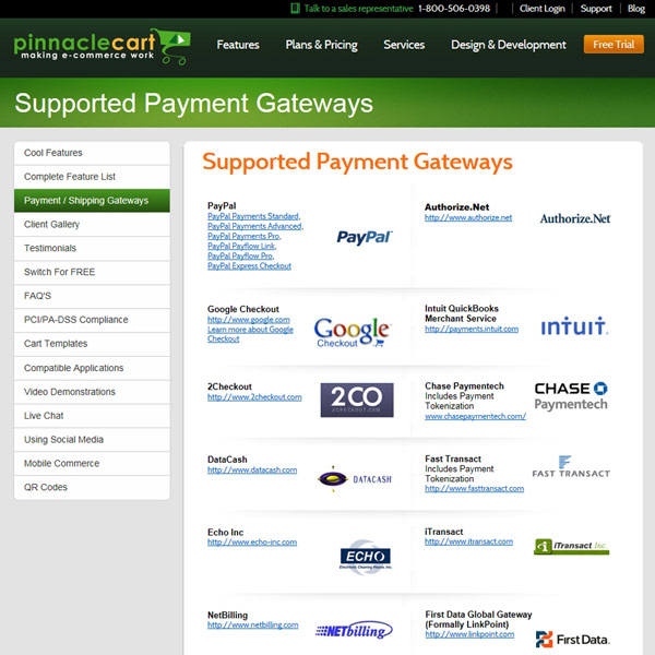 Pinnacle Cart Client Payment Gateways