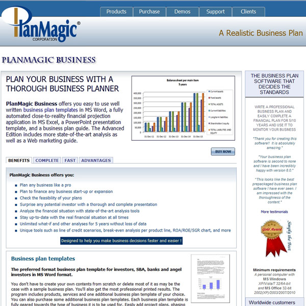 PlanMagic Business Plan Features