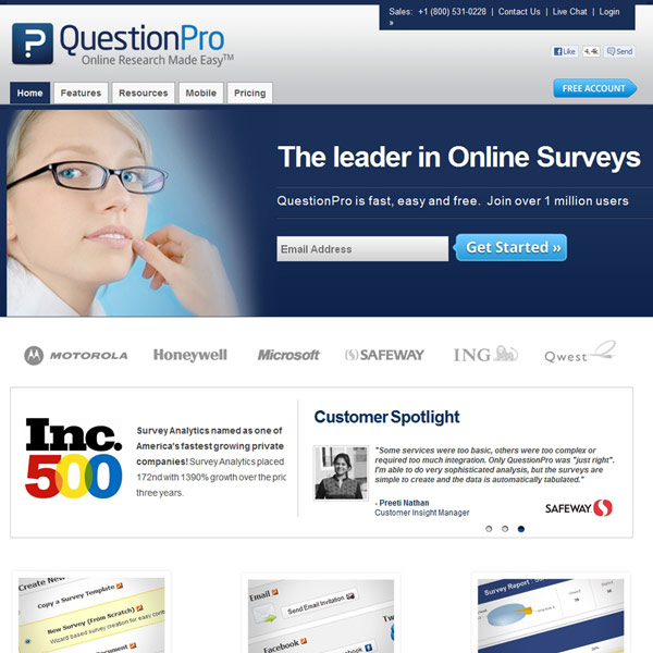 QuestionPro Homepage