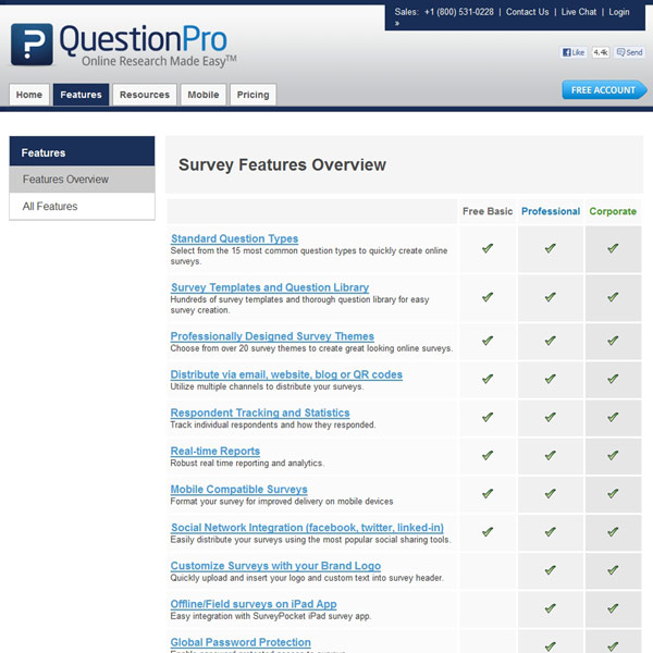 QuestionPro Features