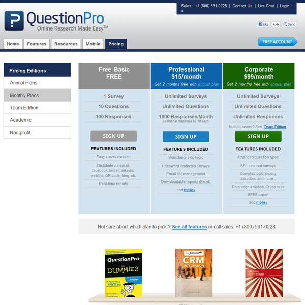 QuestionPro Pricing