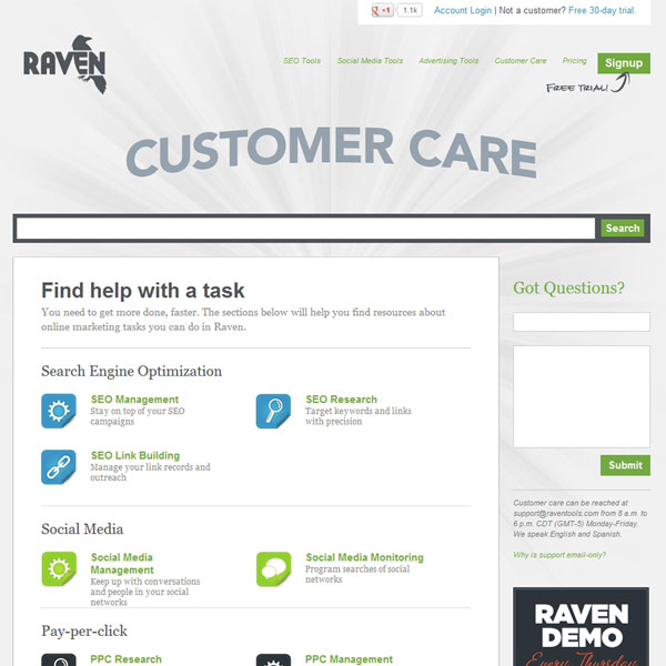 Raven Tools Support