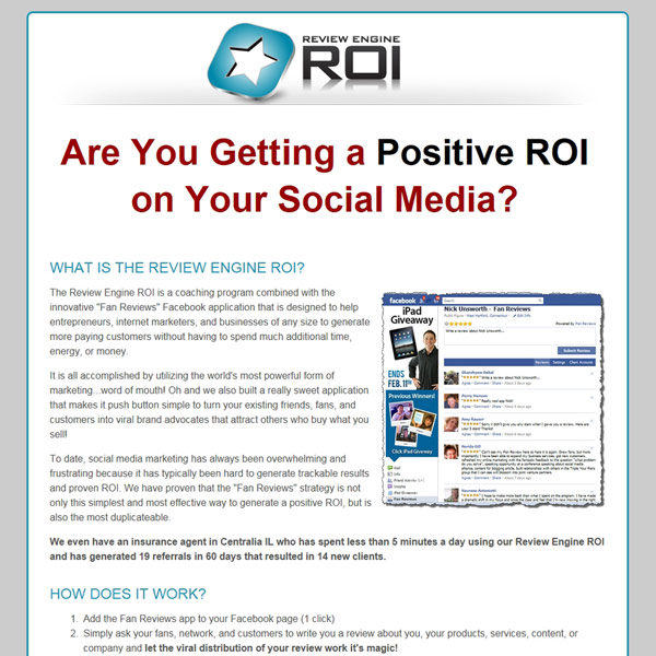 Review Engine ROI Homepage