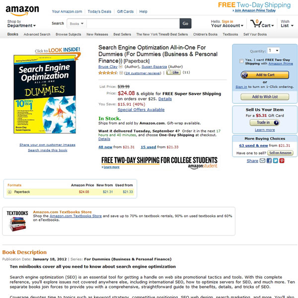 Search Engine Optimization All In One For Dummies Homepage