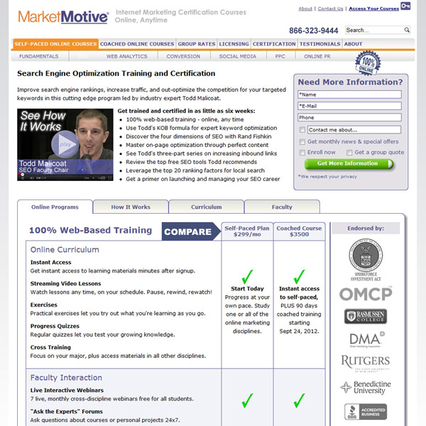 SEO Practitioner Course Homepage