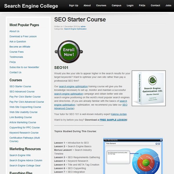 SEO Starter Course Homepage
