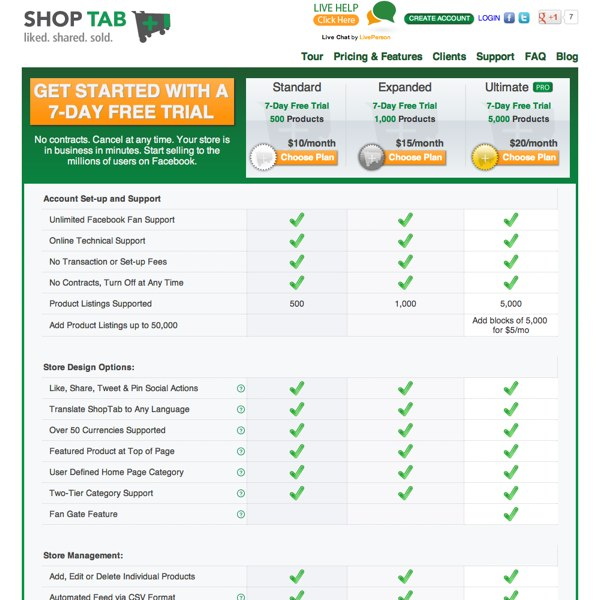 ShopTab Plans and Pricing