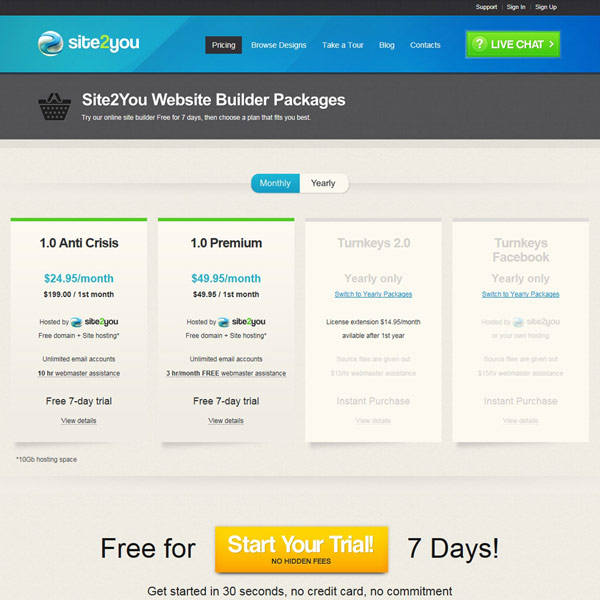 Site2You Package Pricing
