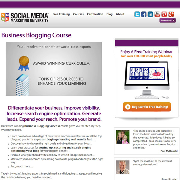 SMMU Business Blogging Homepage