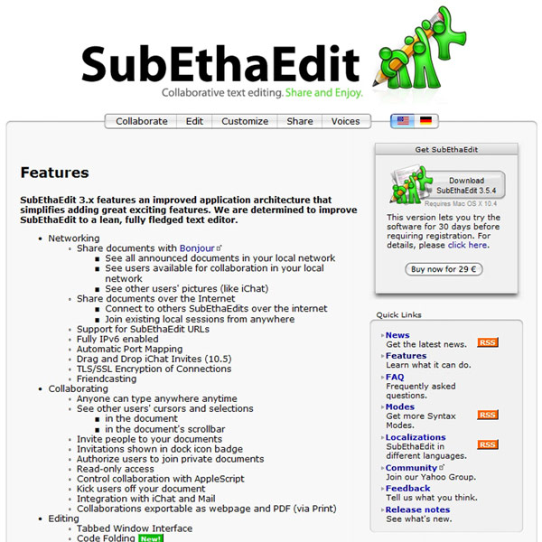 SubEthaEdit Features