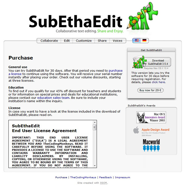 SubEthaEdit Pricing