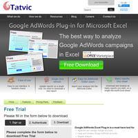 Tatvic AdWords Excel Plug-in screenshot
