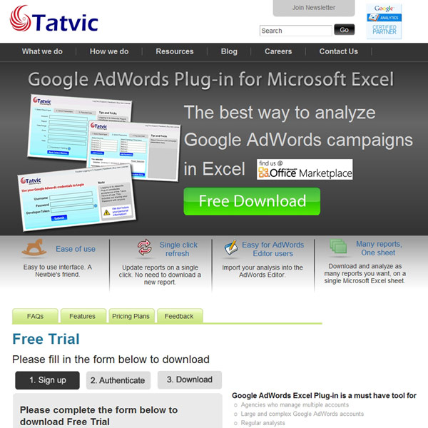 Tatvic AdWords Excel Plug-in Homepage