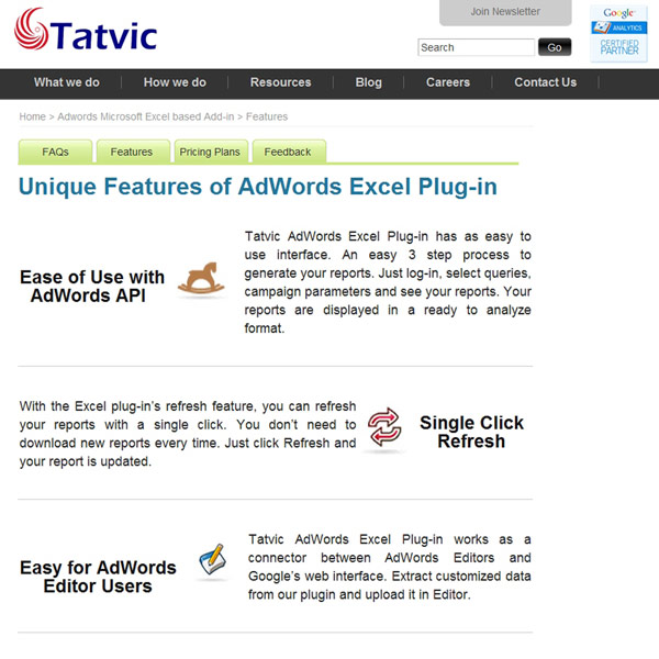 Tatvic AdWords Excel Plug-in Features