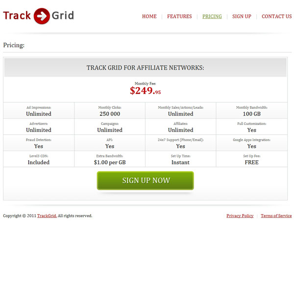 Track Grid Pricing