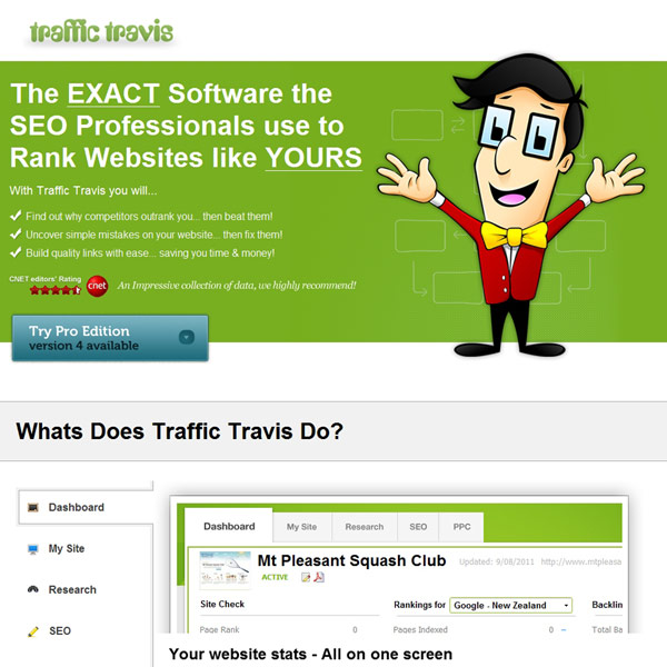 Traffic Travis Pro Homepage