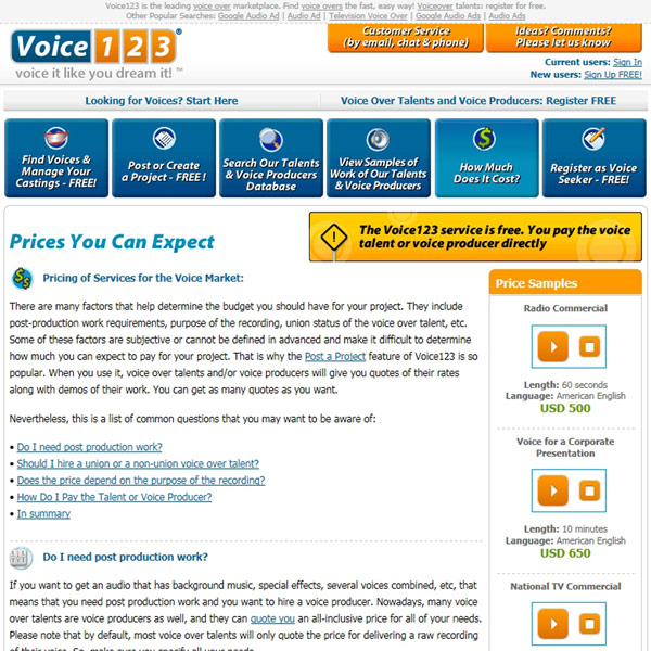 Voice123 Pricing