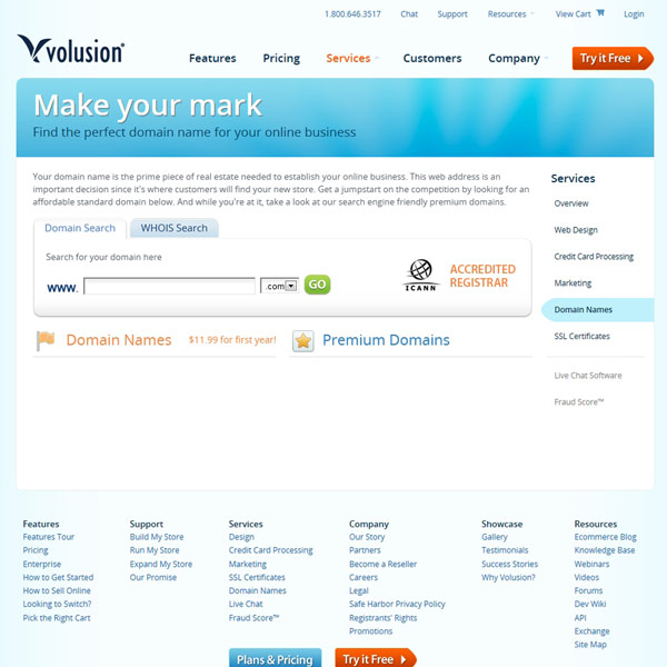 Volusion Domain Registration