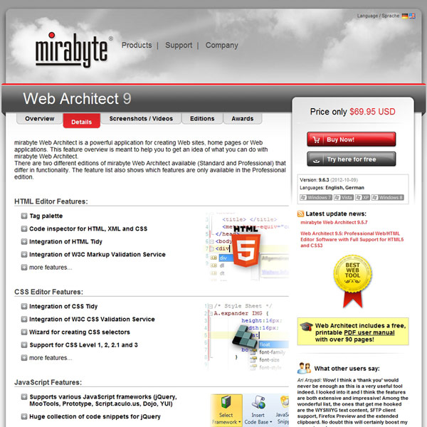Web Architect Features