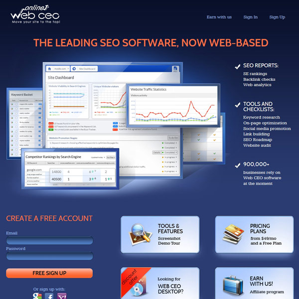 Web CEO Online Homepage