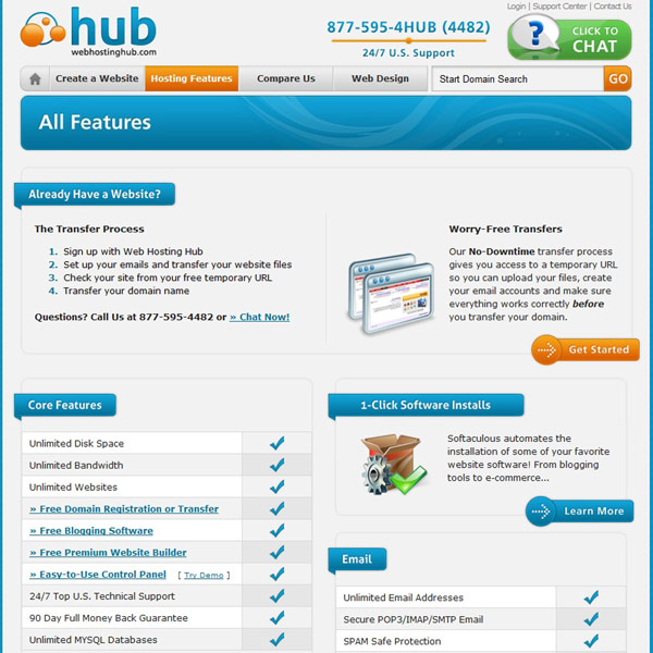Web Hosting Hub Features