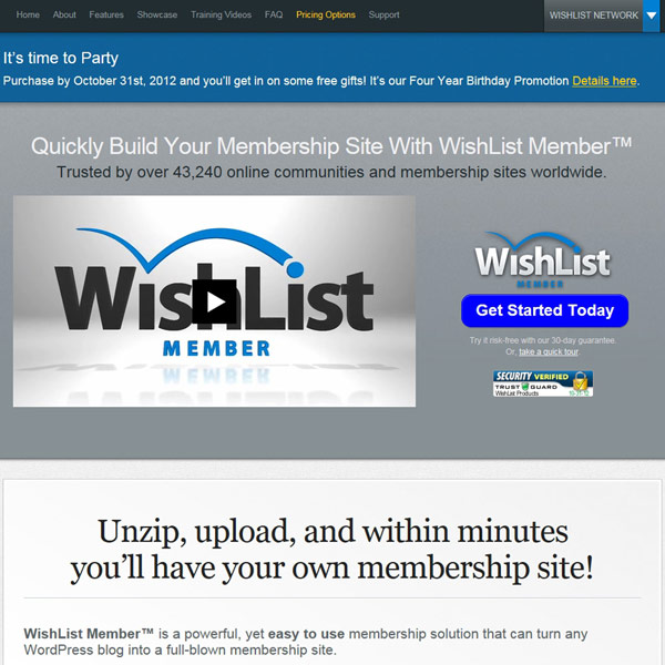 Wishlist Member Homepage