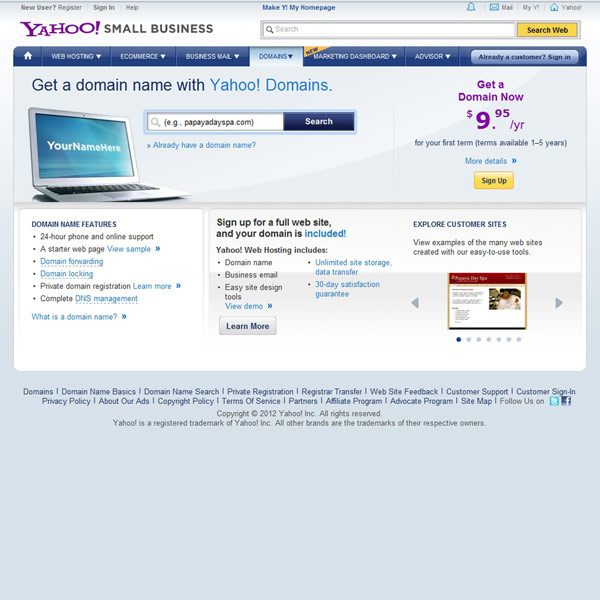 Yahoo! Small Business Domains