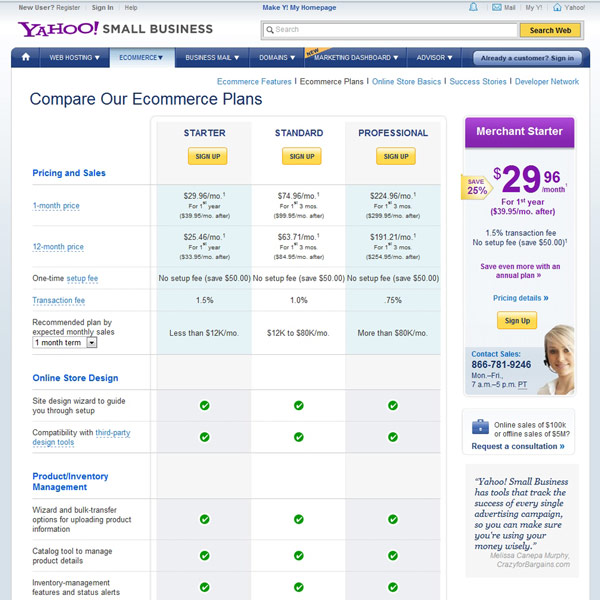 Yahoo! Small Business Pricing