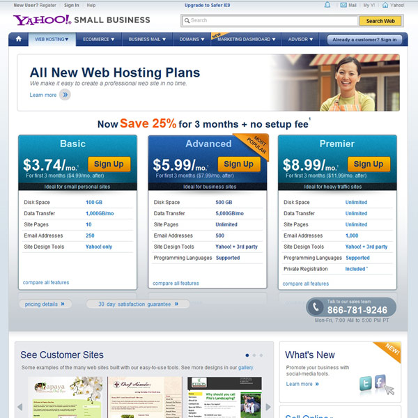 Yahoo! Web Hosting Homepage