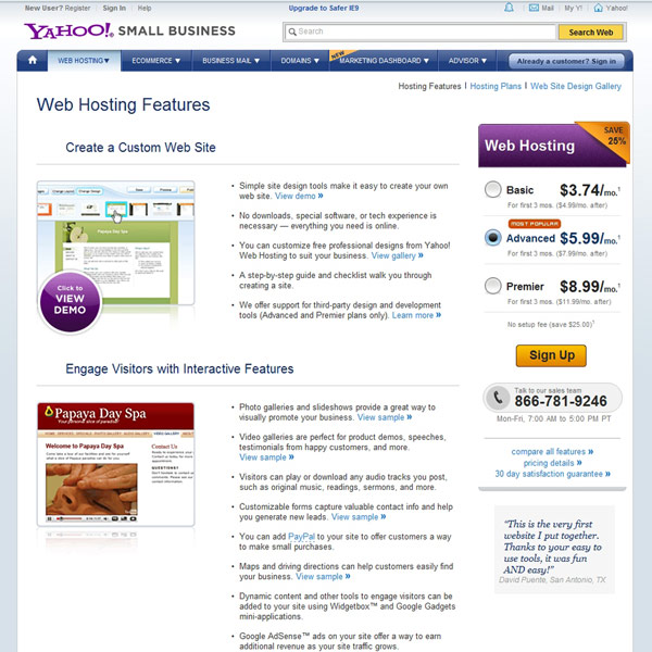 Yahoo! Web Hosting Features