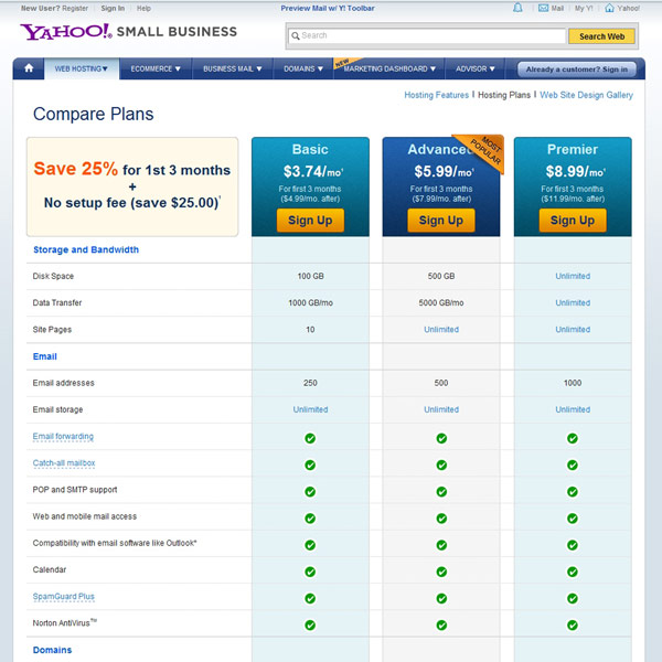 Yahoo! Web Hosting Compare Plans