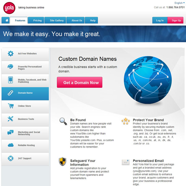 Yola Custom Domain Names
