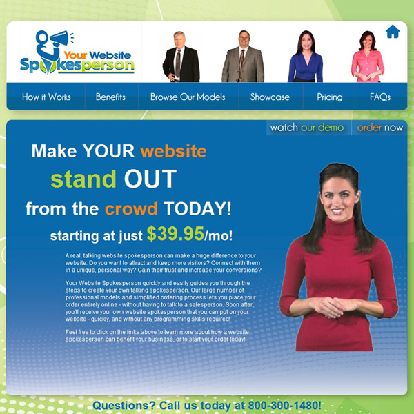 Your Website Spokesperson Homepage