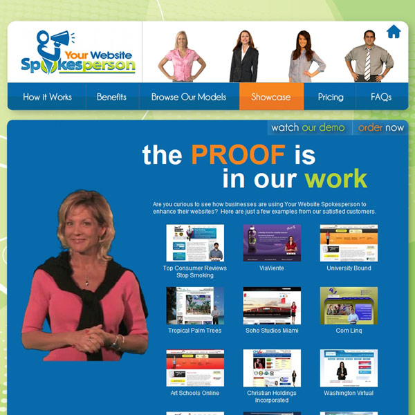 Your Website Spokesperson Showcase